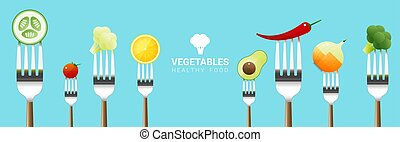 Vegetables on forks isolated on colorful background , healthy food concept 1