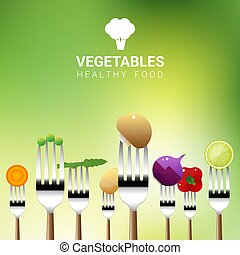 Vegetables on forks isolated on natural background , healthy food concept 1