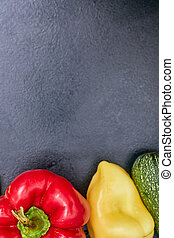 vegetables on the black table, MOCKUP, copy space one