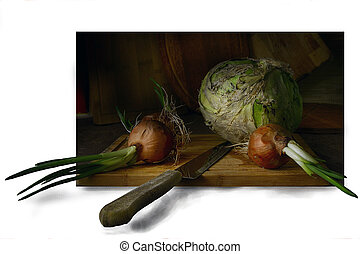 Vegetables on the chopping Board.