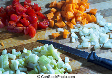 Vegetables on the chopping board
