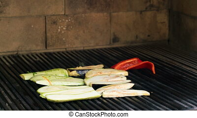 vegetables on the grill over low heat for preparing, time...