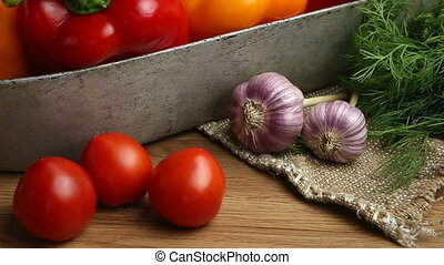 vegetables on the table. , tomatoes, garlic