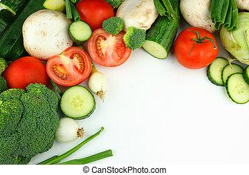Vegetables on the white background: tomato, brocoli, cucumber onion, champignon, zucchini
