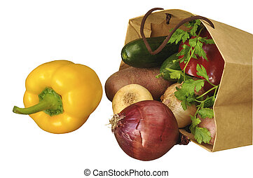 Vegetables on the white isolated background