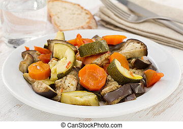 vegetables on the white plate