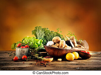 Vegetables on wood. Bio Healthy food, herbs and spices. ...