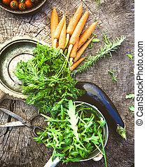 Vegetables on wood - Fresh organic vegetables. Food...