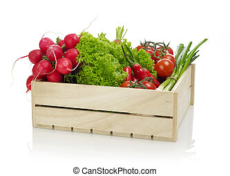 Vegetables on wooden crate