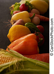 vegetables on wooden table line