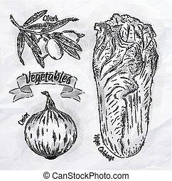 Vegetables onion, napa cabbage, olives vintage