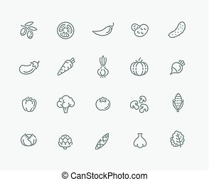 Vegetables outline vector icons
