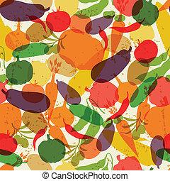 vegetables., reif, muster, seamless, stilisiert, frisch