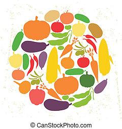 vegetables., reif, stilisiert, design, hintergrund, frisch