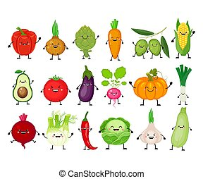 vegetables., rigolote, dessin animé, ensemble, kawaii, ...