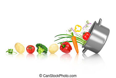 Vegetables roll in a pan on an isolated white background