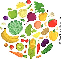Vegetables round composition. - Healthy vegetarian food...