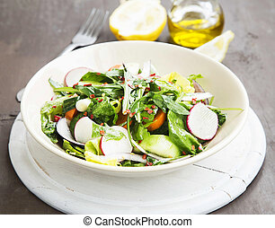 Vegetables Salad Dish with Fresh Organic Lettuce, Radish, Carrots