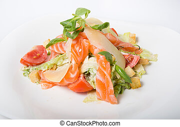 Vegetables salad with salmon