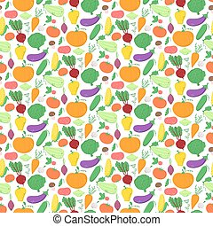 Vegetables seamless pattern, vector background with great abundance of bright colorful vegetables