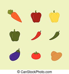 Vegetables Set Fruits Organic Flat Vector Illustration Icon