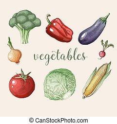 Vegetables Set in Vintage Style. Healthy Food