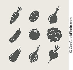 vegetables set of icons vector illustration