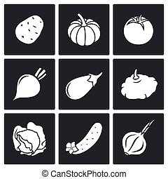 Vegetables set of nine Vector Icons