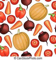 Vegetables set pattern seamless