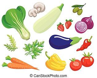 vegetables., set, van, eenvoudig, kleur, illustraties