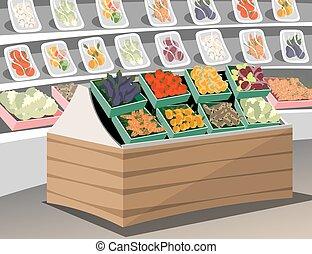Vegetables shop. Fresh healthy vegetables in supermarket store. Vegetable shelf