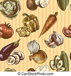 Vegetables sketch color seamless pattern