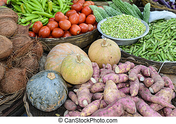 Vegetables sold on the street in India