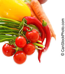 Vegetables still life on the white background
