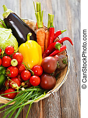 Vegetables still life on wooden background