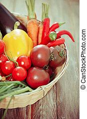 Vegetables still life on wooden background