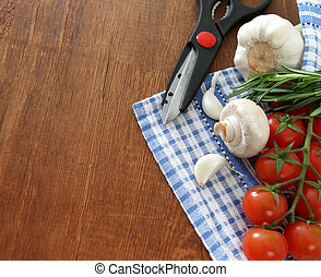 Vegetables still life with scissors