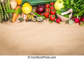vegetables - Fresh vegetables on a brown background
