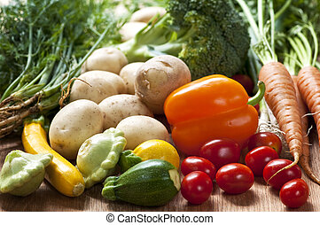 Vegetables - Bunch of whole assorted fresh organic...