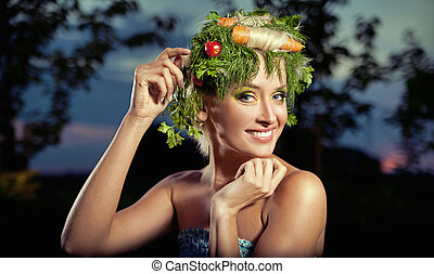 vegetables-style, retrato, dama, rubio