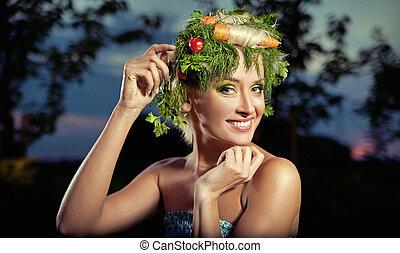 vegetables-style, retrato, senhora, loura