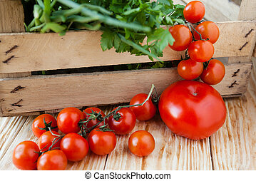 vegetables - tomatoes and herbs in a drawer