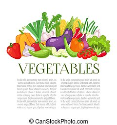 Vegetables top view frame. Farmers market menu design. Organic food colorful poster.Colorful organic banner with vegetables. Cartoon style vector illustration.