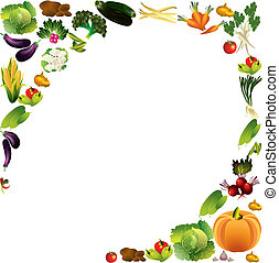 Vegetables vector background with place for text, healthy food t