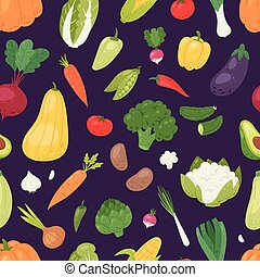 Vegetables vector healthy nutrition of vegetably tomato pepper and carrot for vegetarians eating organic food from grocery illustration vegetated set diet seamless pattern background