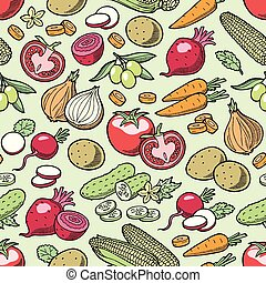 Vegetables vector healthy nutrition of vegetably tomato pepper and carrot for vegetarians eating organic food from grocery illustration vegetated set diet isolated seamless pattern background