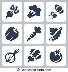 Vegetables Vector Icon Set in Glyph Style