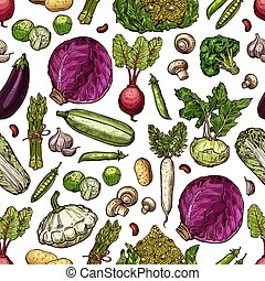 Vegetables vector seamless pattern background