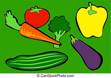 Vegetables - vegetables in simple drawing style