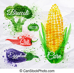 Vegetables watercolor corn, broccoli, chili, eggplant